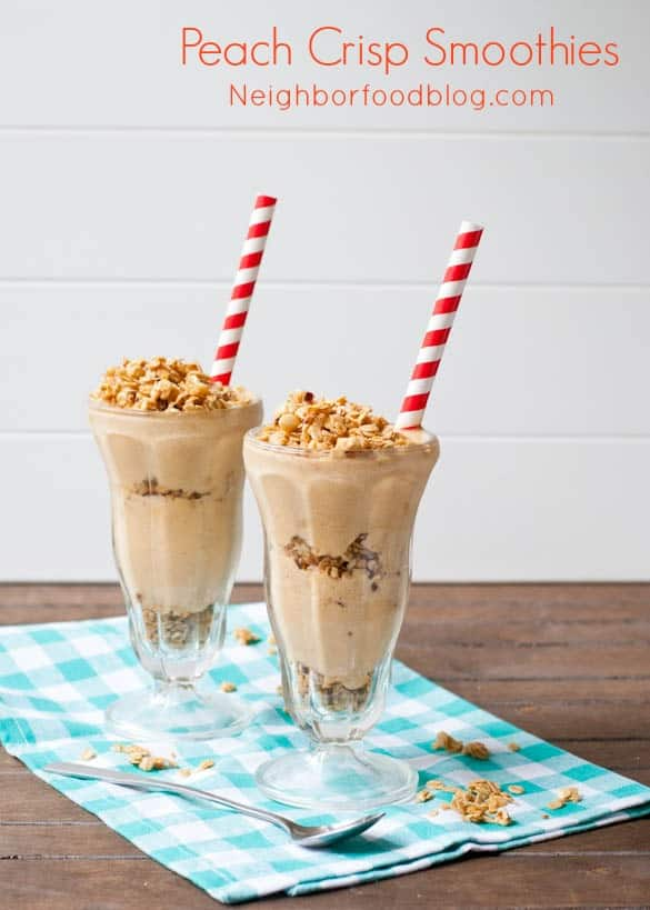 Peach Crisp Smoothies-- a healthy smoothie with an addictive crunch!