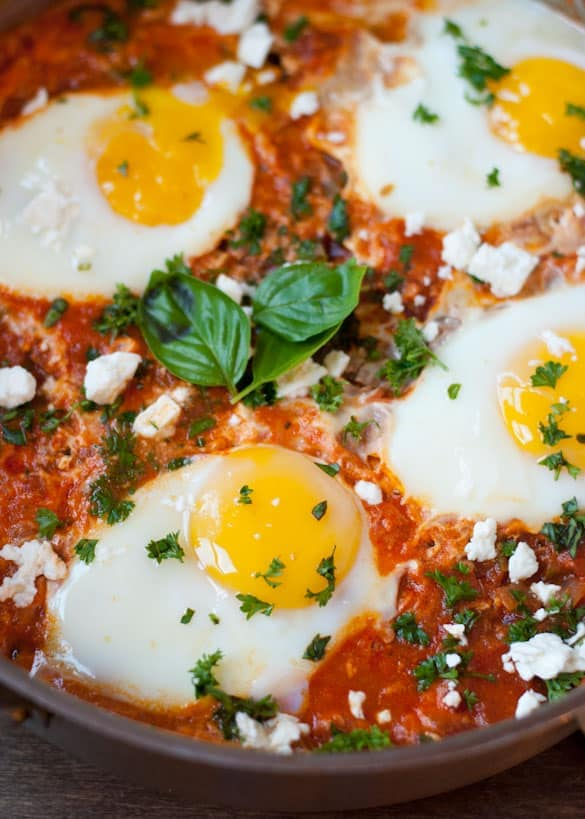 Spicy Shakshuka is a gluten free, vegetarian, and one pot meal!