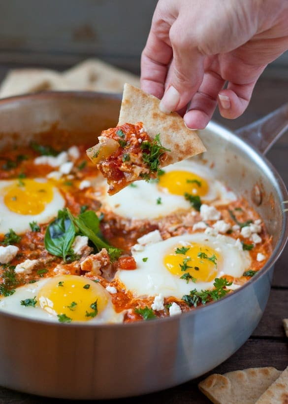 This spicy Shaksuka is an easy one pot meal that's vegetarian and gluten free!