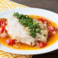 One Skillet Tilapia in Burst Tomato Wine Broth thumbnail