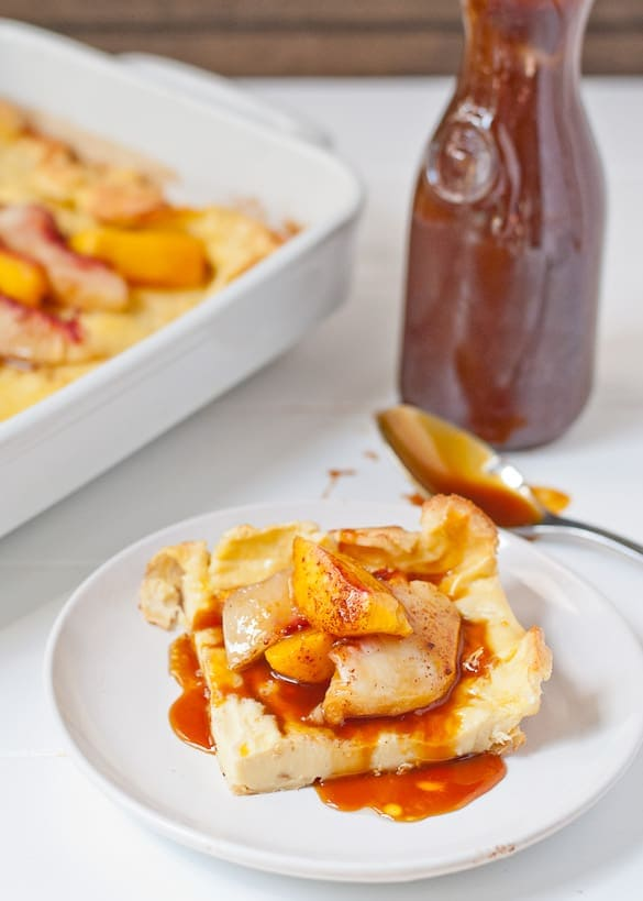 This 5 Ingredient German Pancake smothered in cinnamon peaches is an easy and impressive breakfast.