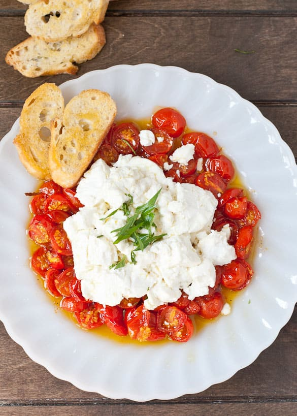 Roasted Tomatoes and Goat Cheese is a quick but impressive appetizer that tastes like summer!