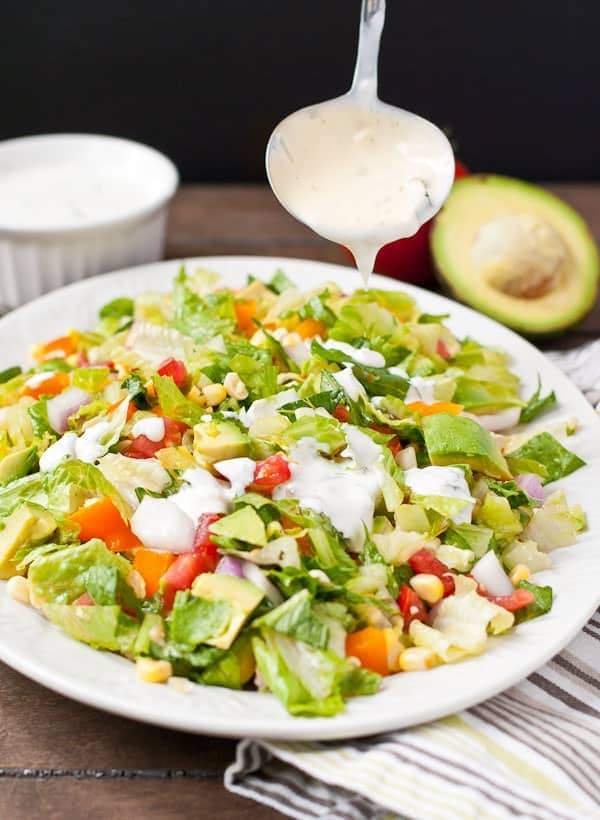 Tomato and Corn Chopped Salad with Cilantro Ranch--a summer favorite!