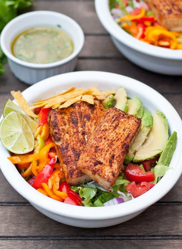 All the best parts of a fish taco packed in a healthy salad!