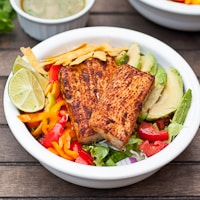 Fish Taco Salads with Sriracha Lime Dressing