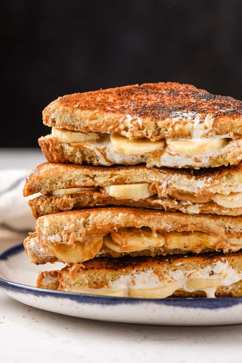 stack of grilled fluffernutter sandwiches