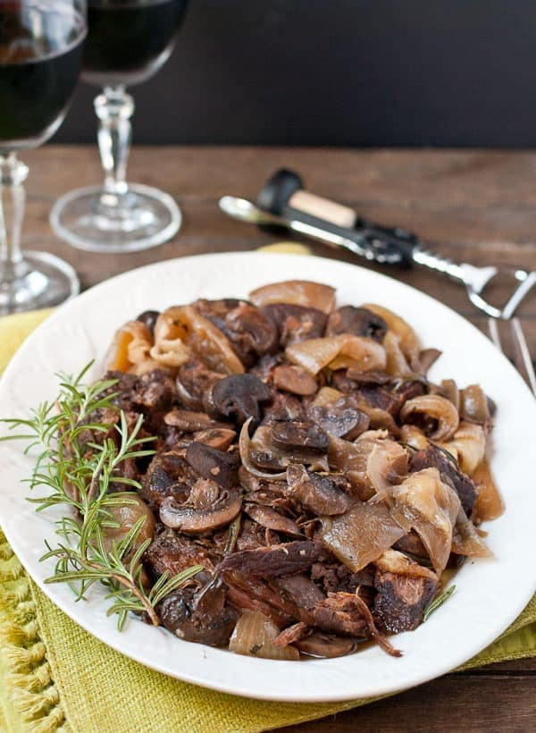 Slow Cooker Rosemary and Mushroom Pot Roast--10 minutes prep for fall apart roast!