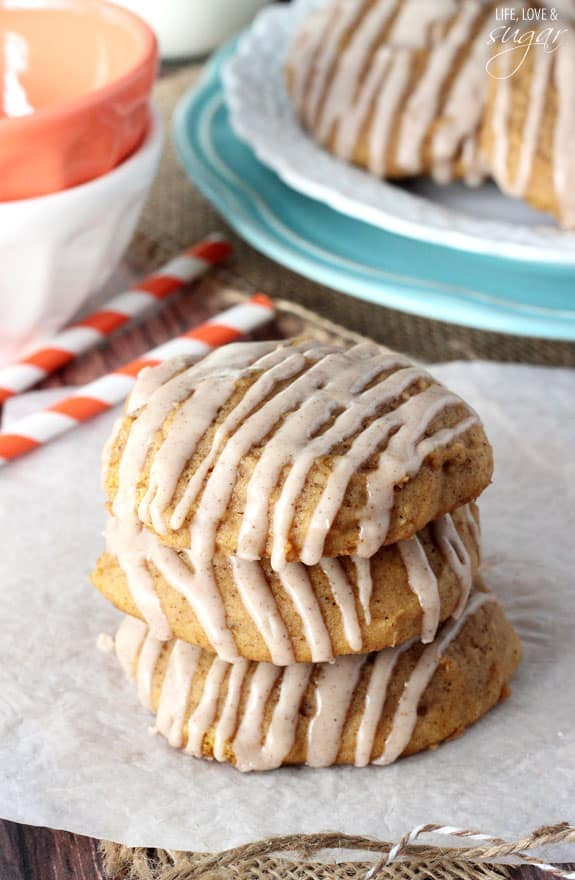 Pumpkin_Cookies_with_Cinnamon_Glaze-lifelovesugar-threequartercup
