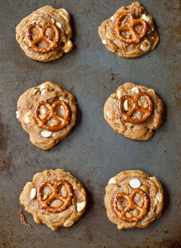 The Ultimate Chewy Pumpkin Cookies with white chocolate chips and pretzels!