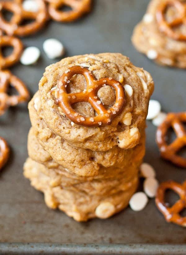 White Chocolate Pretzel Pumpkin Cookies
