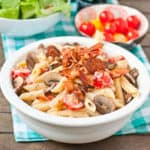 Easy Creamy Italian Pasta (with bacon, mushrooms, and cherry tomato)