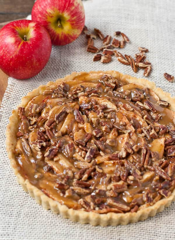 This Salted Caramel Apple Pecan Tart is begging for a scoop of ice cream!