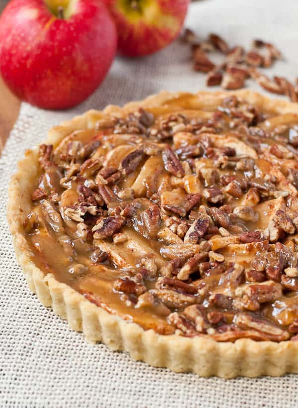 This elegant Apple Pecan Tart is covered in salted Maple Caramel Sauce. Perfect with a scoop of ice cream.
