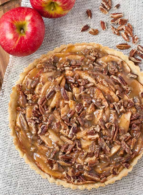 This Salted Maple Caramel Apple Tart is a simple but elegant fall dessert.