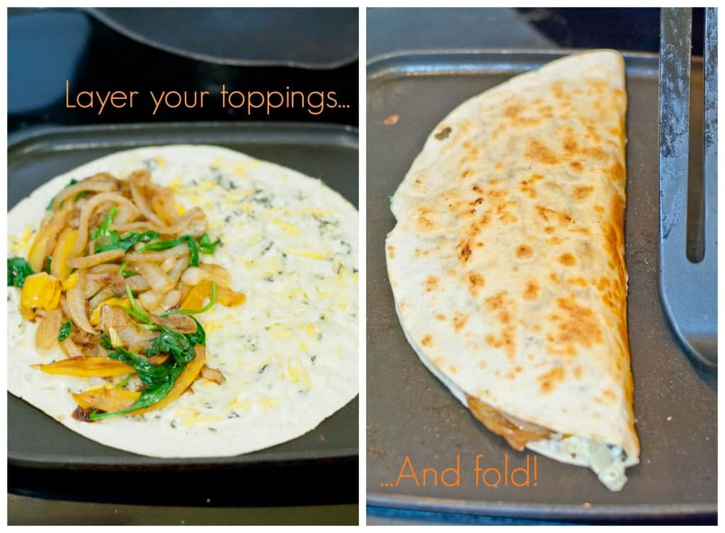 demonstration how to flip a quesadilla