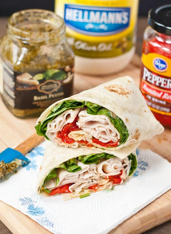 Turkey, spinach, and roasted red peppers makes a killer wrap!