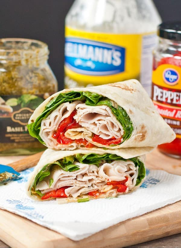 Spinach, Roasted Red Pepper, and Feta Turkey Wrap