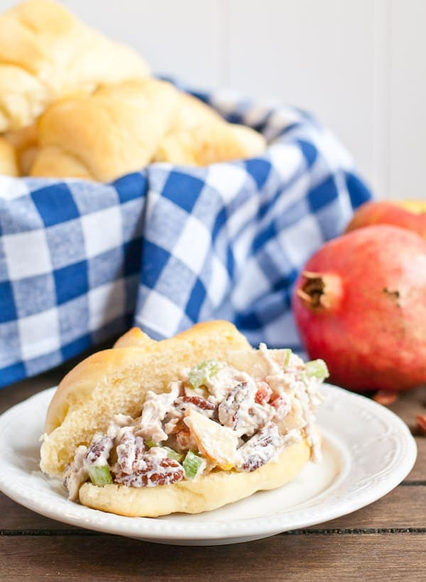 This Chicken or Turkey Salad is stuffed with tart apples, sweet cranberries, and crunchy pecans!