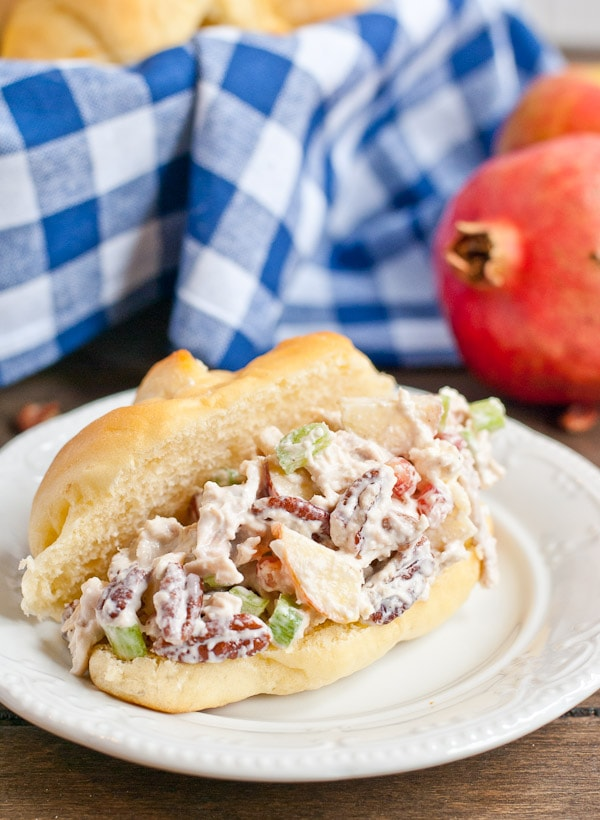 This Apple Pecan Chicken Salad is a great way to use up Thanksgiving turkey leftovers!