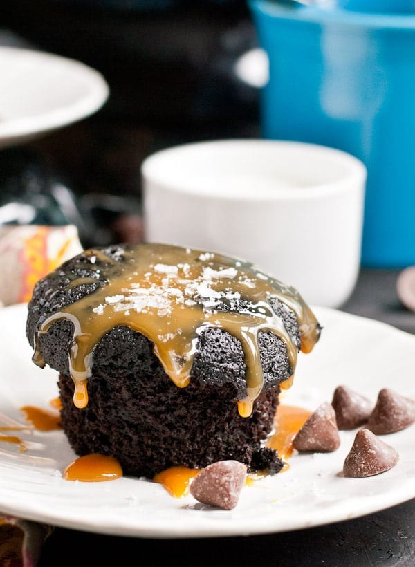 Dark fudgy chocolate muffins are loaded with caramel filled chips and a salty caramel sauce!