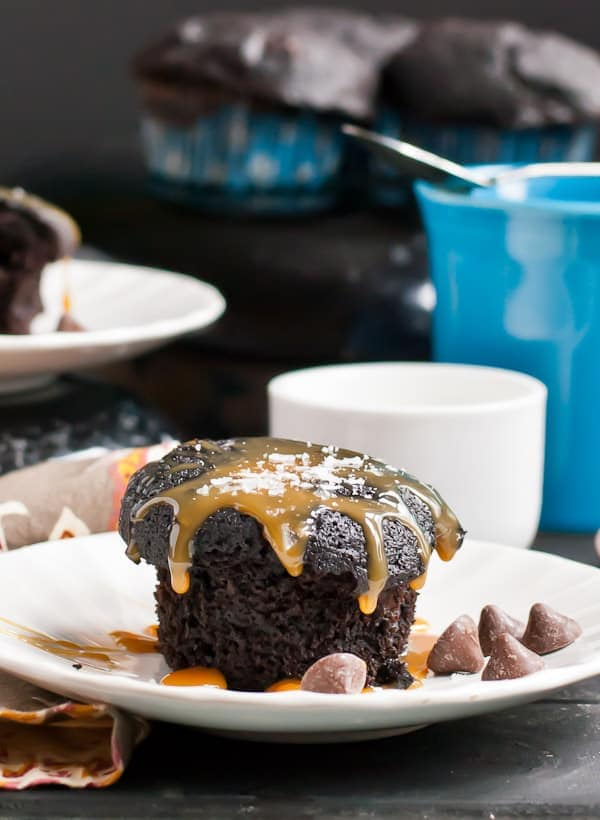 These rich and fudgy Chocolate Caramel Muffins are an easy breakfast treat!