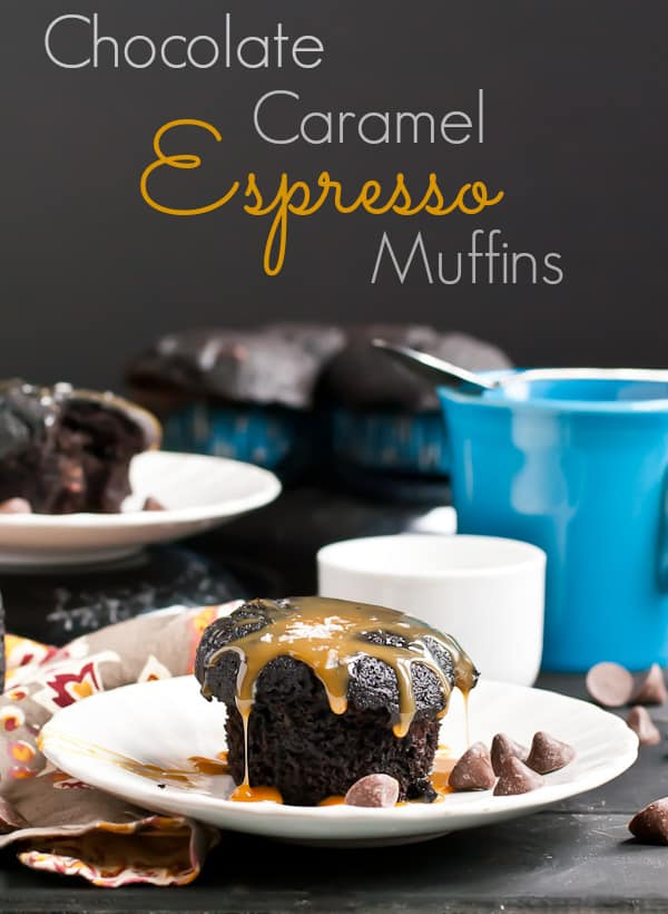 These Chocolate Caramel Muffins with a hint of espresso are the perfect holiday breakfast treat.