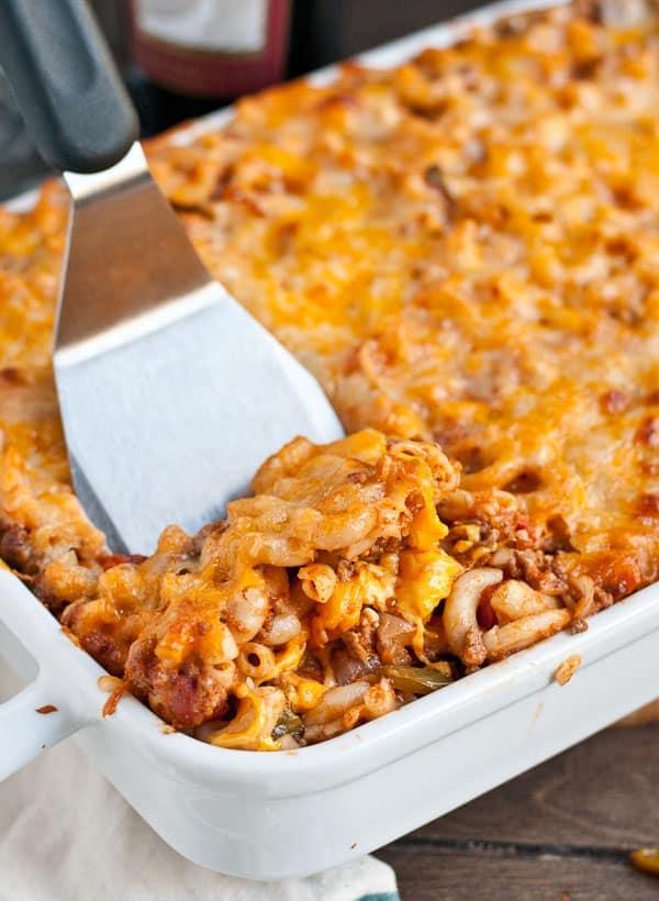 This Johnny Marzetti Casserole recipe is always a crowd pleaser!