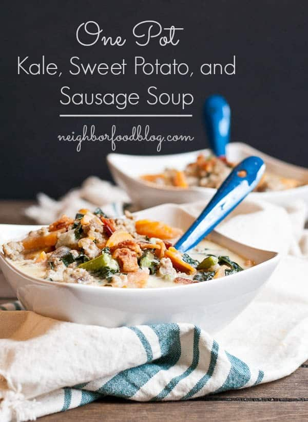 This Creamy Kale and Sweet Potato Soup is loaded with sausage, bacon, and garlic.