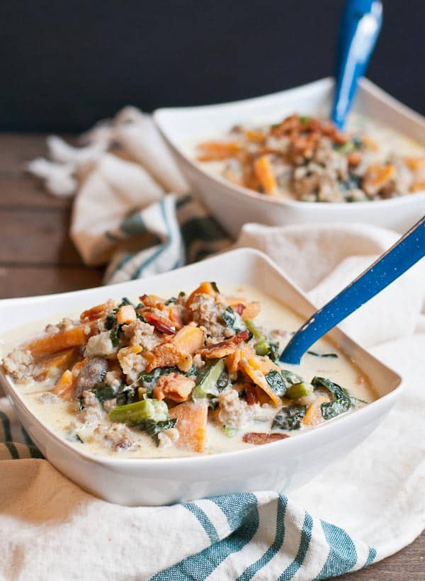 This creamy soup is loaded with kale, sweet potato, and sausage!