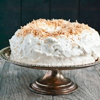 Dark Chocolate Coconut Sour Cream Snowball Cake