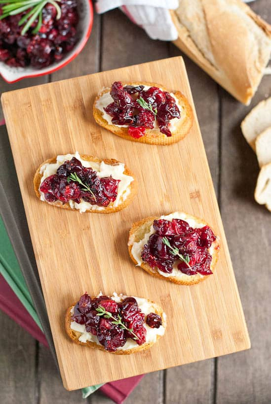 Roasted Cranberries and Brie make the ultimate holiday party crostini!