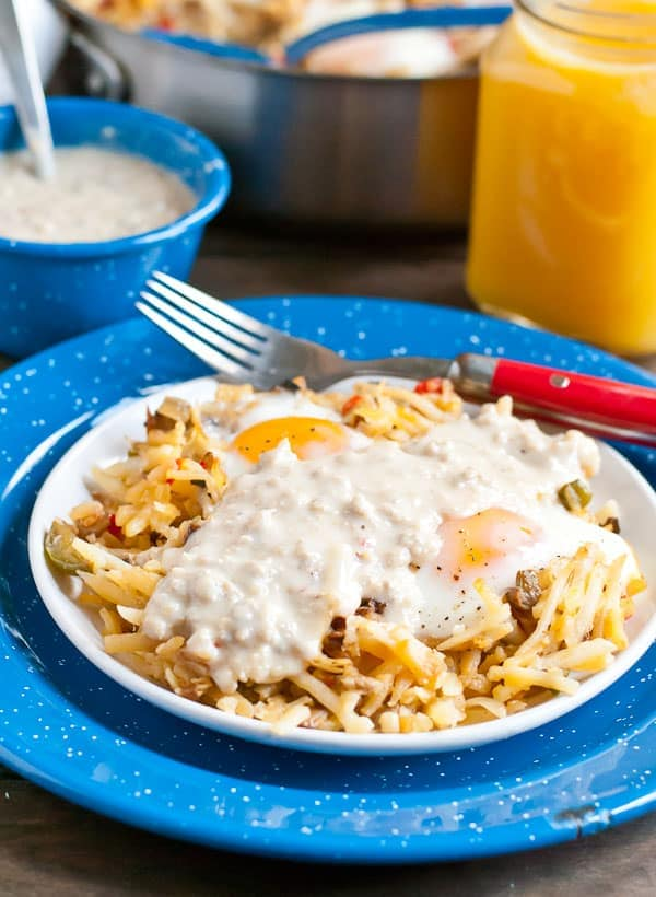Looking for a hearty breakfast to fuel your holidays? Look no further than this Sausage Gravy and Hash Brown Skillet!