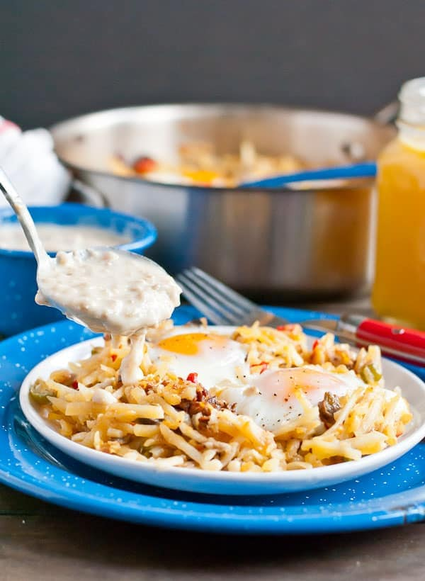 Skip the diner and make this Hash Brown Skillet with Sausage Gravy in your own kitchen!