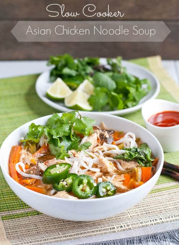 This Slow Cooker Asian Chicken Noodle Soup is a fresh and satisfying meal that'll warm you up and chase away the cold!