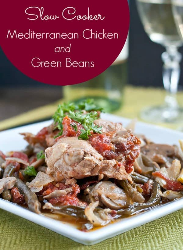 This Slow Cooker Mediterranean Chicken is loaded with vegetables and bright flavor. A perfect healthy one pot meal!