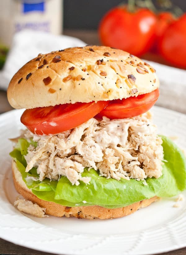 The slow cooker makes these Chicken Caesar Sandwiches an easy meal!
