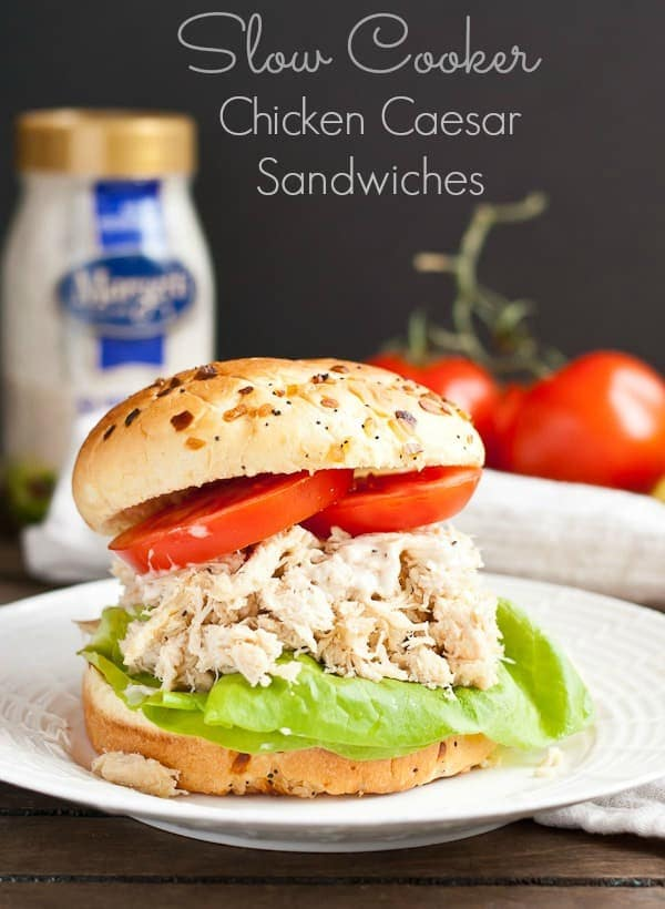 These creamy, tangy Chicken Caesar Sandwiches are made in the slow cooker for an easy meal!