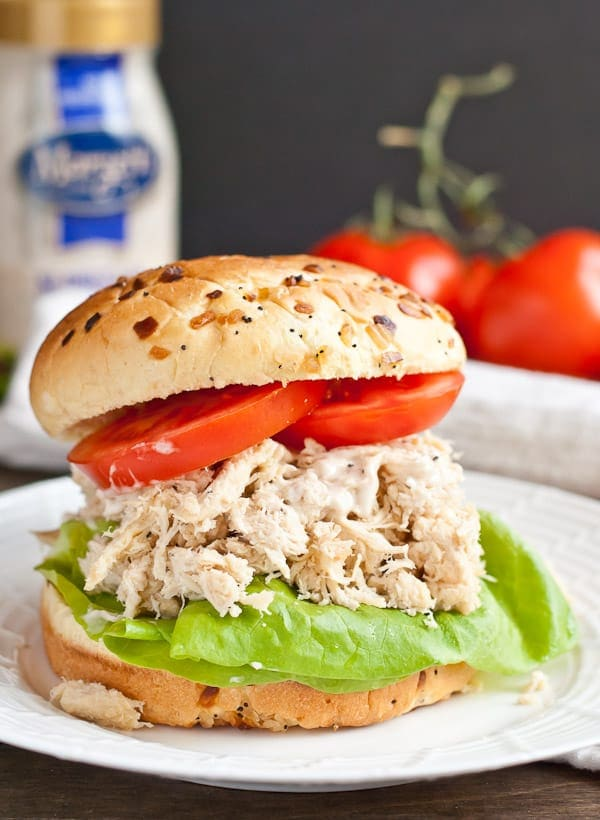 Treat yourself to a Chicken Caesar Sandwich made entirely in the crock pot!