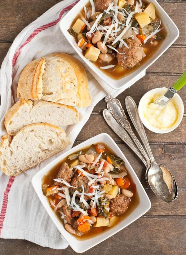 Slow Cooker Meatball Minestrone from Neighborfoodblog.com