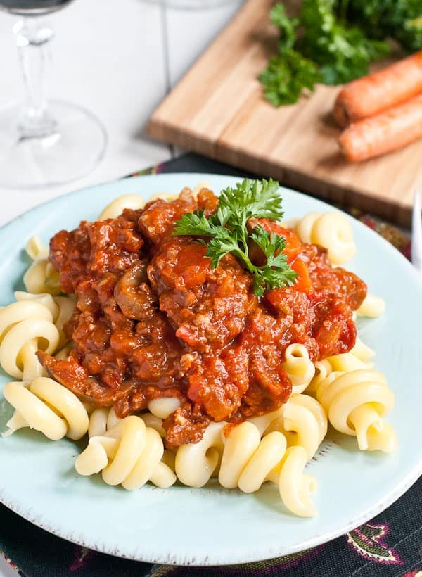 This Crock Pot Sausage Ragu is packed with vegetables and herbs for the ultimate comfort food.