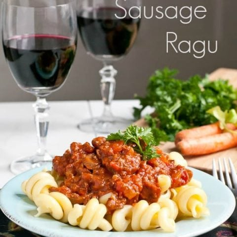 Slow Cooker Italian Sausage, Beef, and Vegetable Ragu