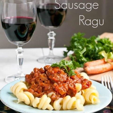 Slow Cooker Italian Sausage, Beef, and Vegetable Ragu