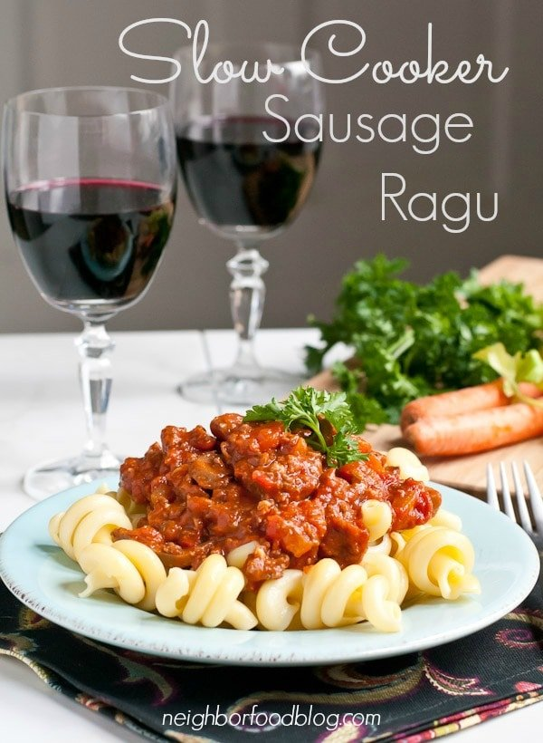 This Slow Cooker Sausage Ragu makes a hearty meal for a cold winter ...