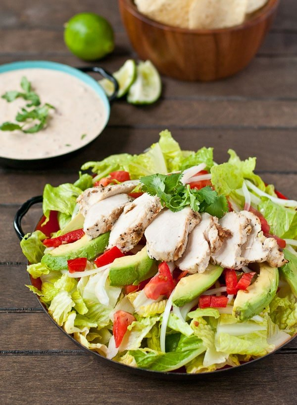 Healthier Chicken Taco Salad from neighborfoodblog.com