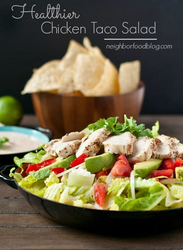This Chipotle Chicken Taco Salad is a healthy, smoky, spicy salad that will satisfy the whole family!