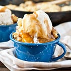 skillet peach slump maple caramel sauce