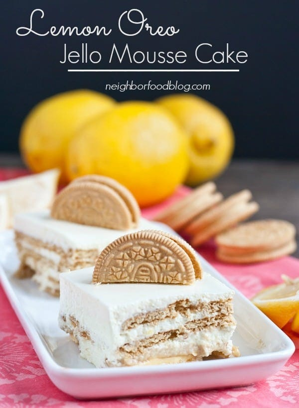 Lemon Oreo Jello Mousse Cake