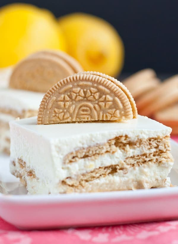 Lemon Oreo Jello Mousse Cake via Neighborfoodblog.com