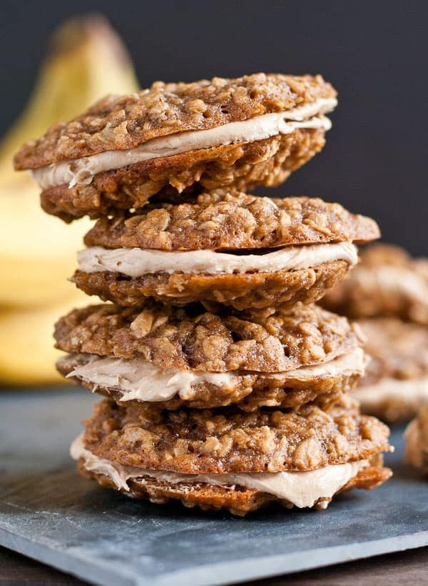 Peanut Butter Banana Oatmeal Creme Pies from NeighborFoodBlog.com