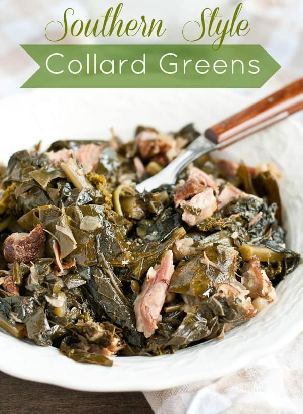 Southern Collard Greens with smoked turkey in a white bowl